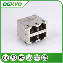 China Os conectores múltiplos do porto de DGKYD22Q077HWA4D RJ45 empilham o conjunto 8POS 2X2 CAT6 do MJ com magnetics distribuidor